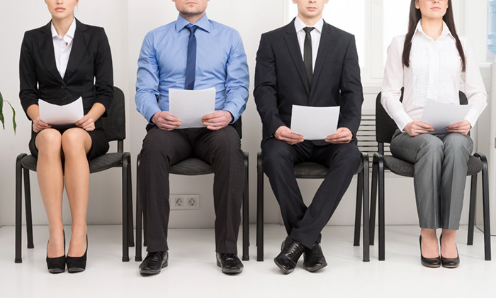Candidates waiting for an interview.