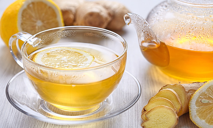 Cup of ginger tea with honey and lemon, hr