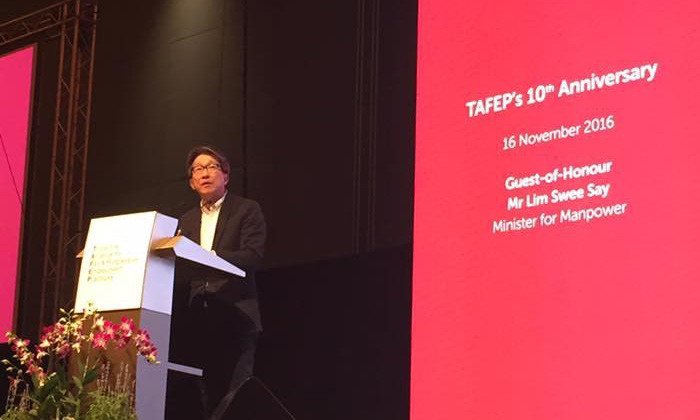Manpower Minister Lim Swee Say at TAFEP's 10th anniversary celebrations