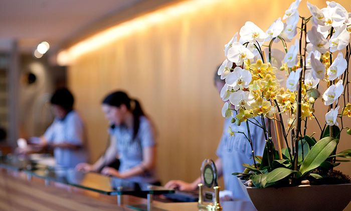 Hotel reception with orchid flowers