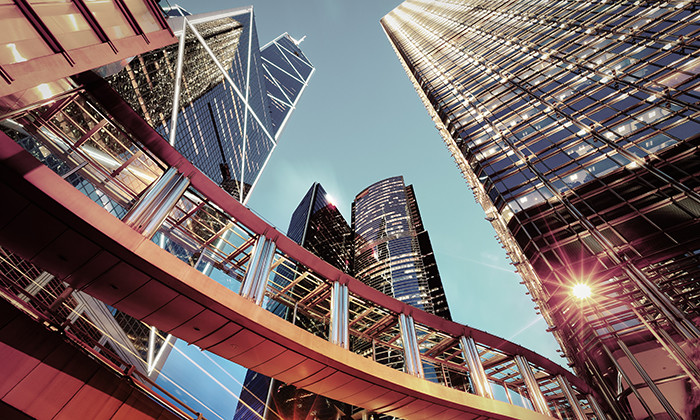 View of Hong Kong city centre buildings, hr