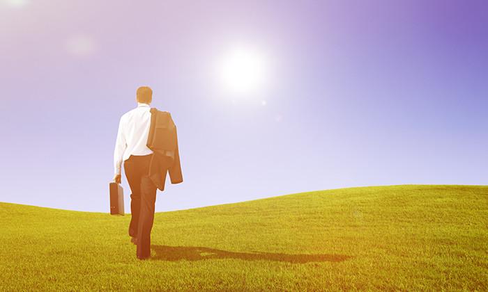 Businessman walking away, leaving, hr