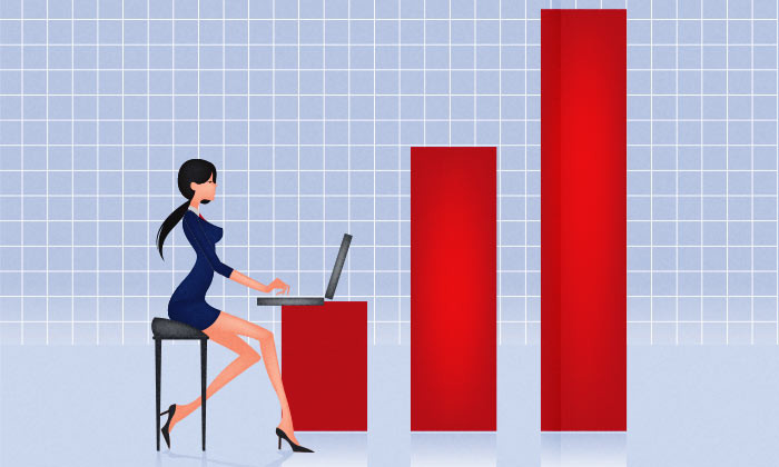 Business lady working on career progression