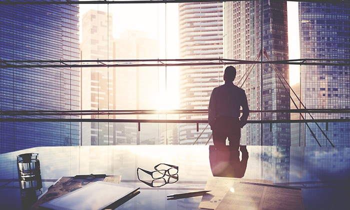 Business leader looking out of office window, hr