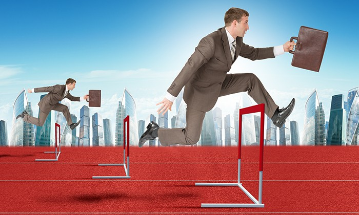 Businessmen taking hurdles, hr