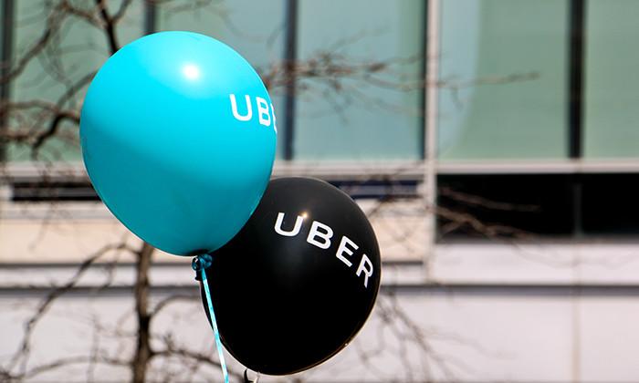Uber logo on balloons