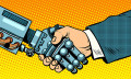 robot and businessman handshake - 123RF