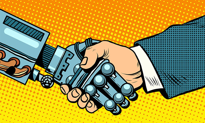 robot and businessman handshake - 123RF