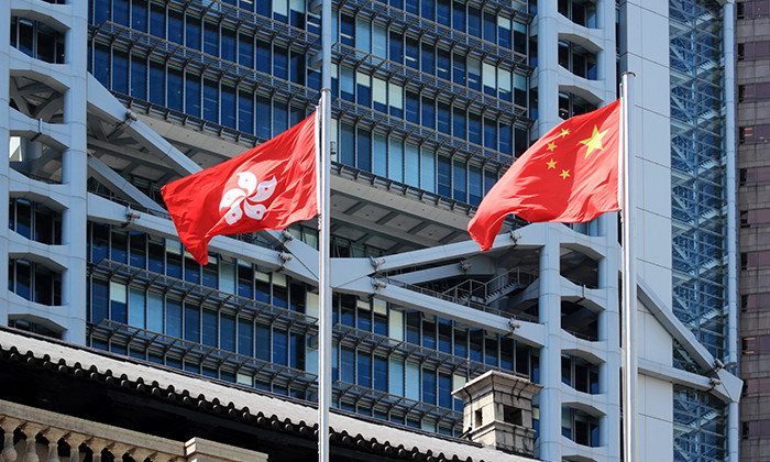 China and Hong Kong flags, hr