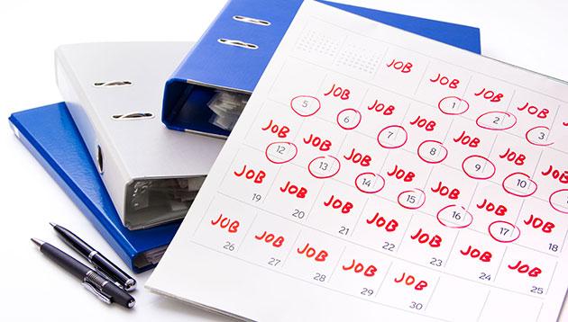 calendar marked with jobs - 123RF