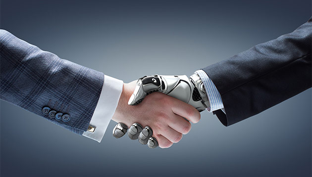 robot and man handshake - 123RF