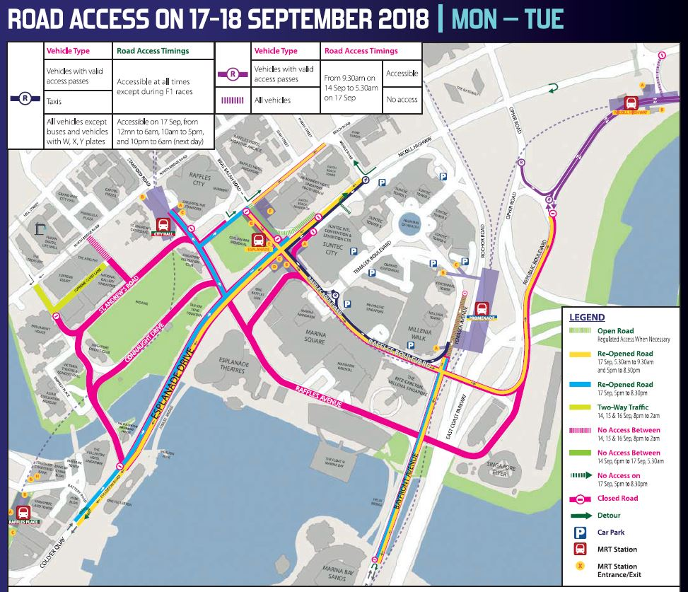 Road closures affecting commuters during the F1 Singapore