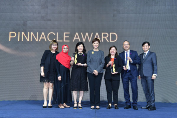 Group photo of winners of the Pinnacle Award with Minister Josephine Teo.