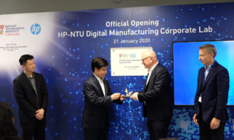 (Left to right) The HP-NTU Corporate Lab was officially opened today by NRF Singapore Executive Director Lim Tuang Liang, NTU Senior Vice President (Research) Prof Lam Khin Yong; HP Inc CTO Shane Wall; HP Inc Chief Technologist, Print, Glen Hopkins. At the opening, Prof Lam also presented token of appreciation to Wall.