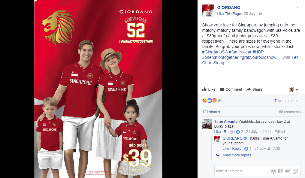 Giordano ad for National Day shirt called out for lack of