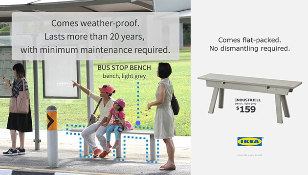 lta fires back at ikea for mocking stolen bus stop bench saga marketing interactive. Black Bedroom Furniture Sets. Home Design Ideas