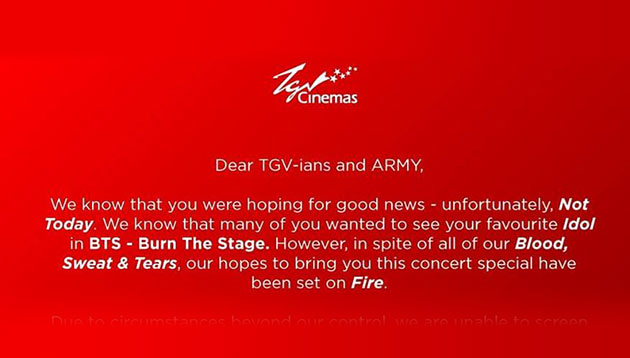 Mic drop: TGV Cinemas' witty FB apology for Korean band BTS