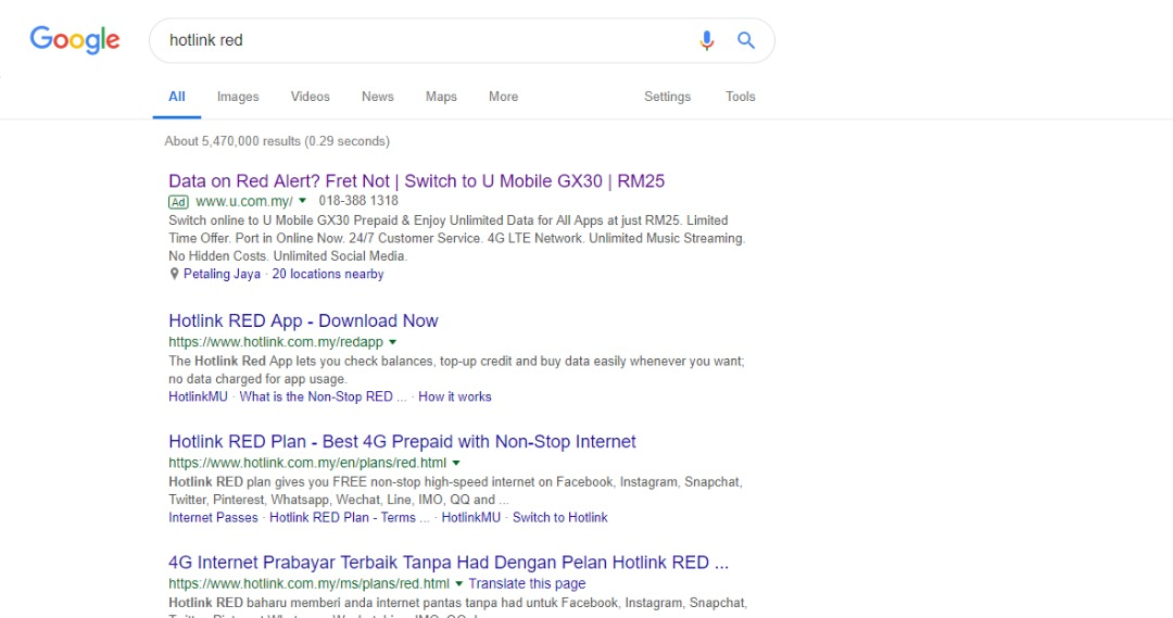 U Mobile hijacks telco search results, takes multiple jabs at