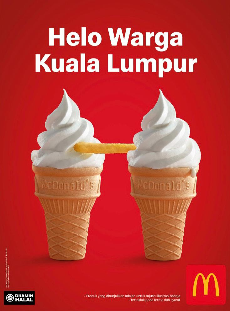 McDonald's Malaysia turns food into iconic landmarks in latest OOH