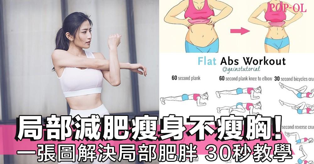 瘦身最怕瘦到胸!一張圖教你局部減肥,拜拜肉、肚腩、大肥腿立即瘦下來,30秒教學簡單易學~