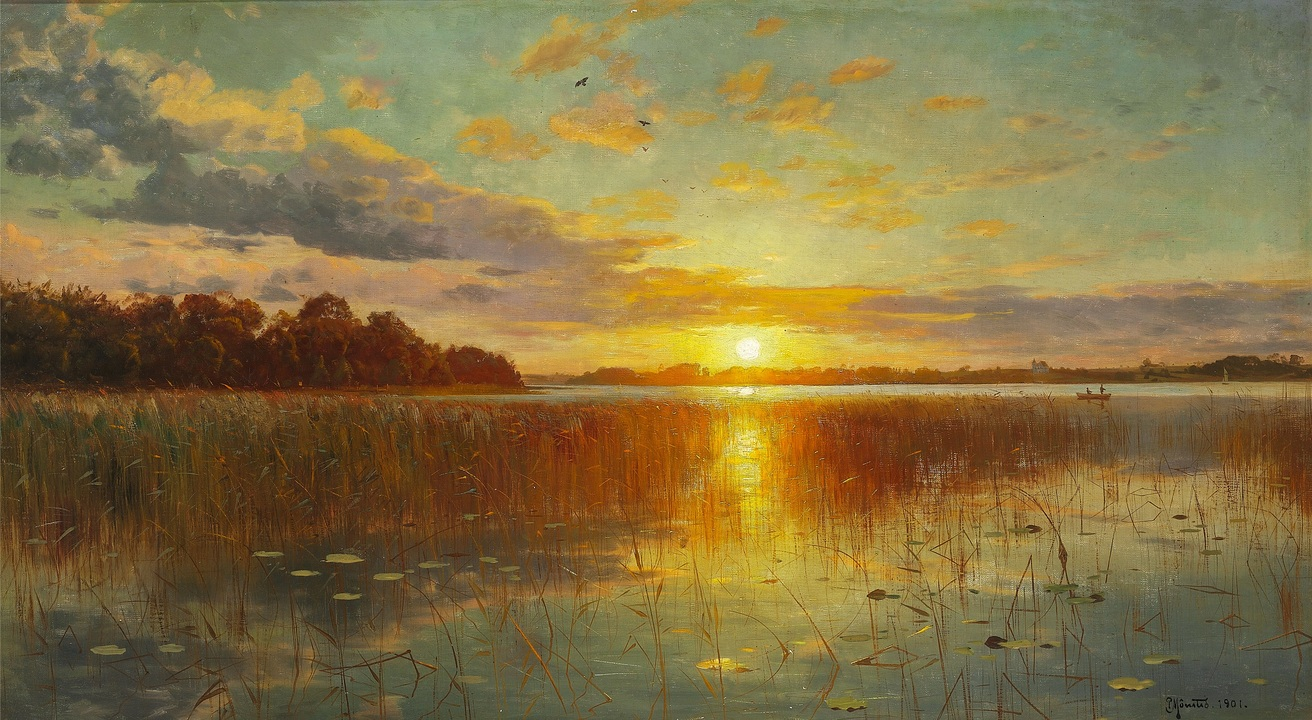 Sunset over a Danish Fiord - Peder Mønsted (1901)