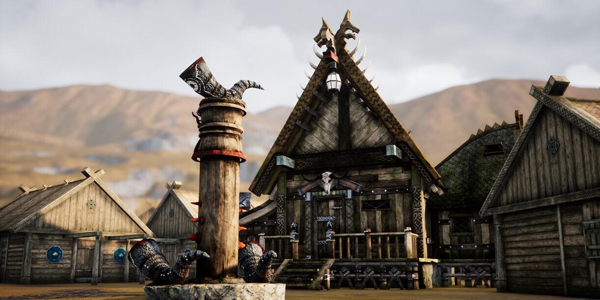 Phong cách nhà cửa các ngôi làng Scandinavian (nguồn ArtStation).