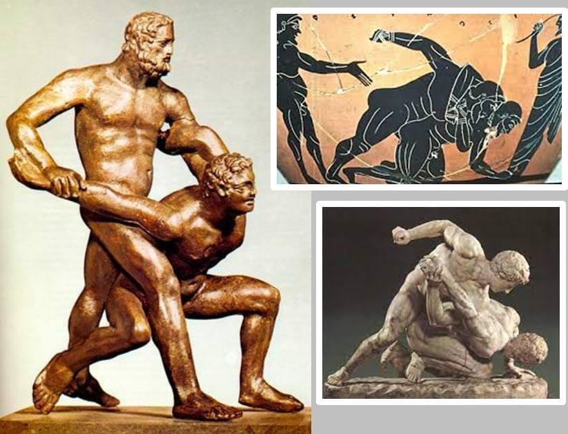 """Phong cách khóa siết """"submission"""" của Pankration được mô tả thông qua các bức tượng điêu khắc, hoạ tiết gốm sứ…"""