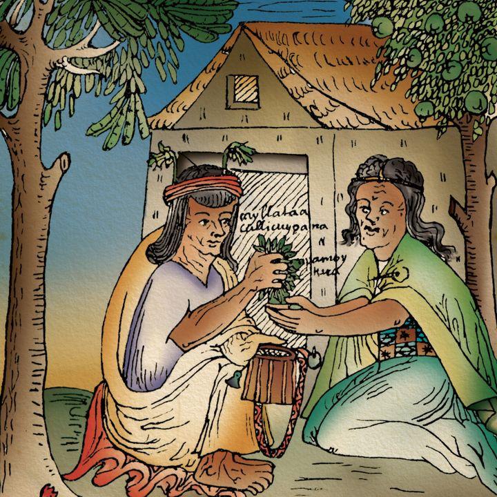 Một bức tranh thế kỉ 17 cho thấy hai người phụ nữ đang trao đổi lá coca