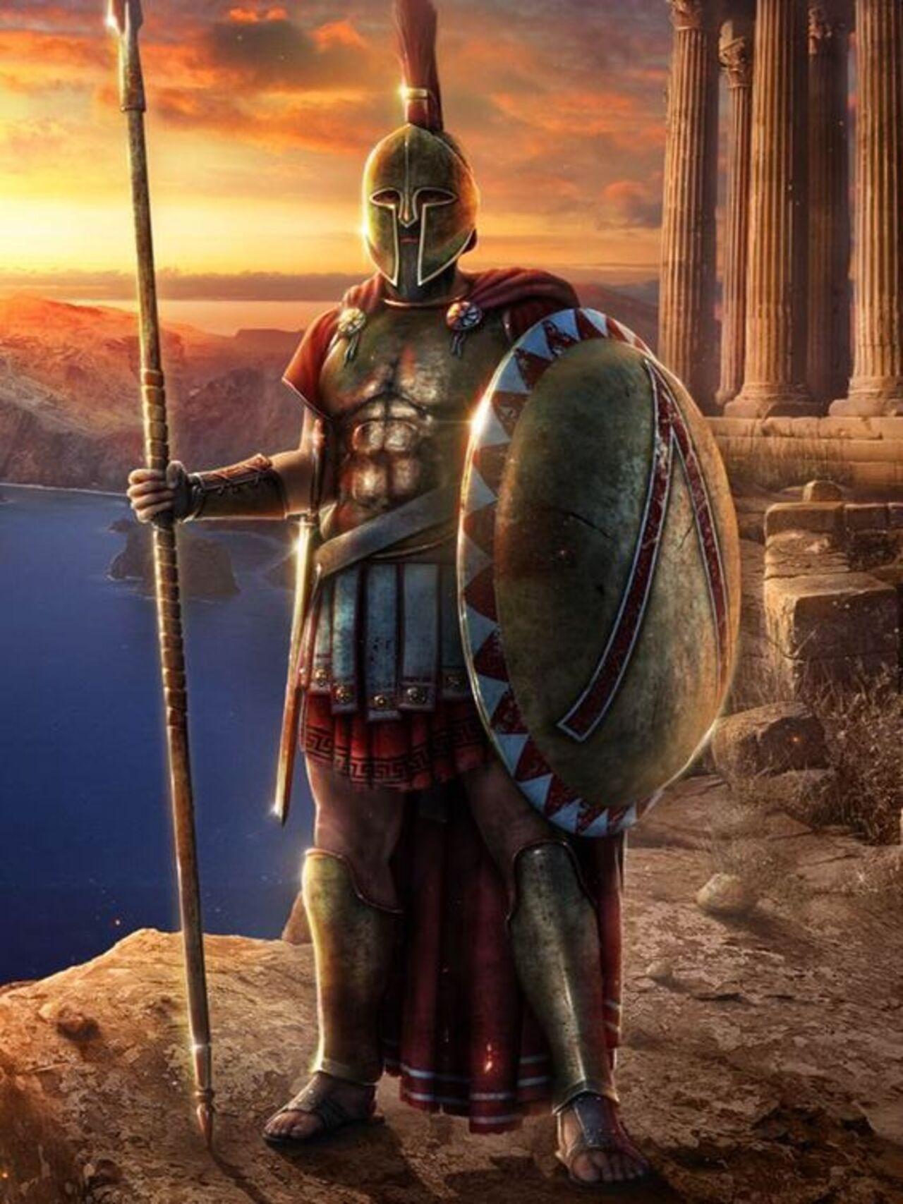 Trang bị đặc trưng của binh lính Spartan.