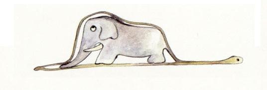 <i>Bức vẽ ngộ nghĩnh về một con voi trong bụng một con trăn</i>