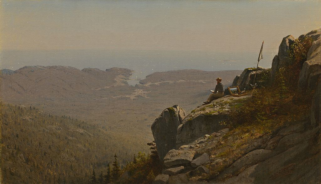 The Artist Sketching at Mount Desert, Maine - Sanford Robinson Gifford (1860s)