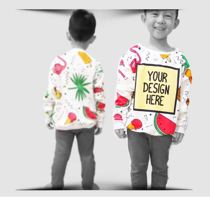 crew neck fullprint anak 1