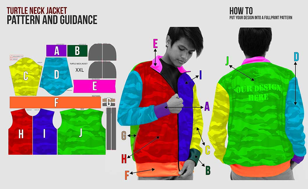 guidance pattern turtle neck jacket