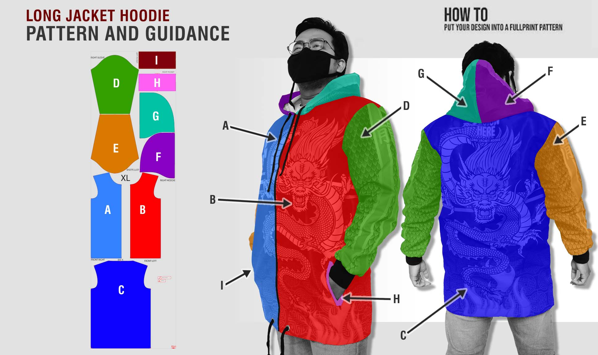 guidance pattern long jacket hoodie