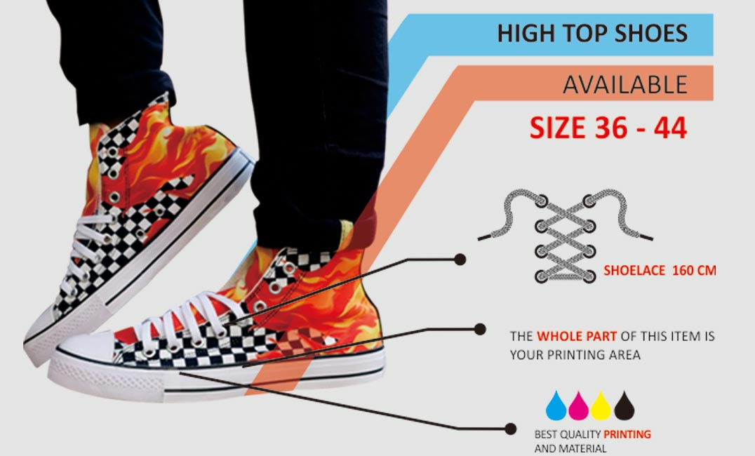 specification high top shoes custom