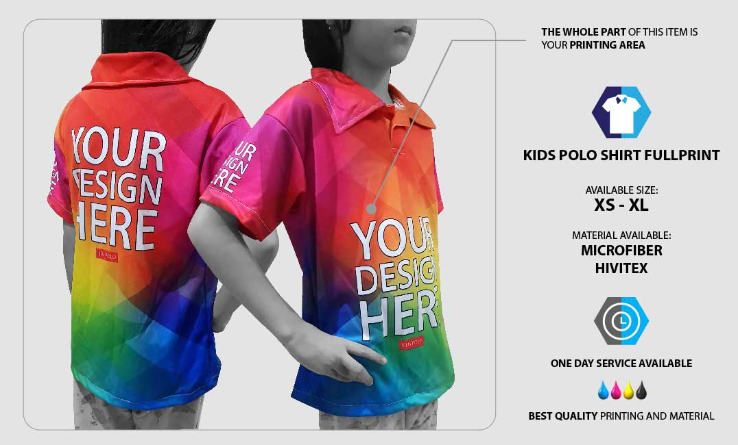 Kids Polo Shirt Fullprint  specification
