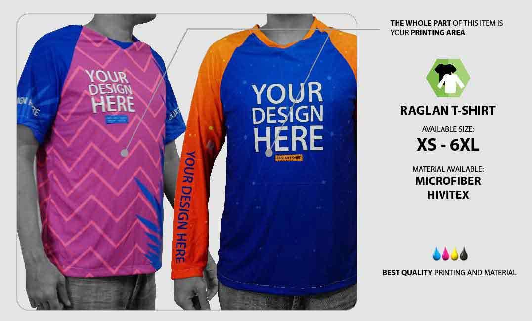 Raglan T-shirt Fullprint