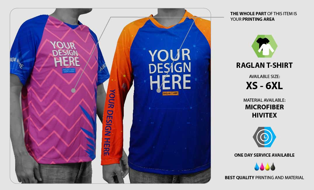 Raglan T-shirt Fullprint  specification