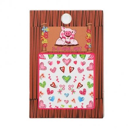 Multi Colored Hearts Nail Art