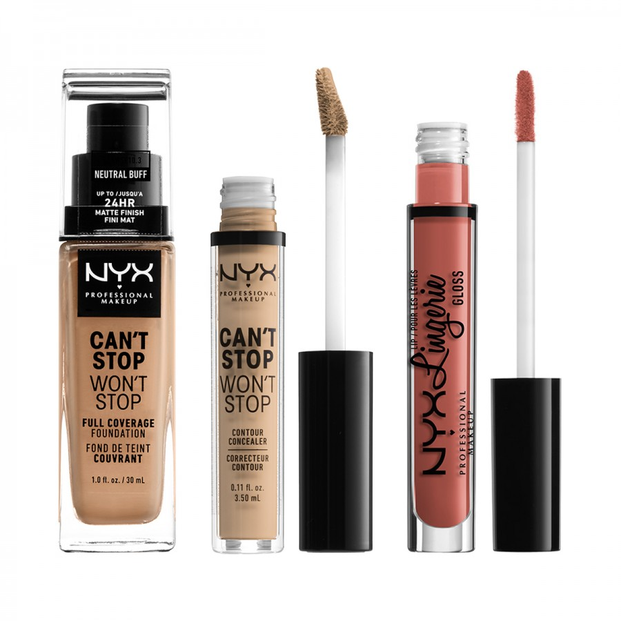 Can't Stop Won't Stop Foundation + Concealer + Lip Lingerie Gloss Set