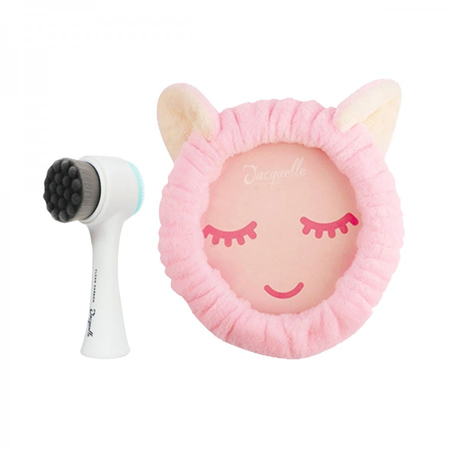 Facial Cleansing Brush Clean Carbon + Kitten Headband