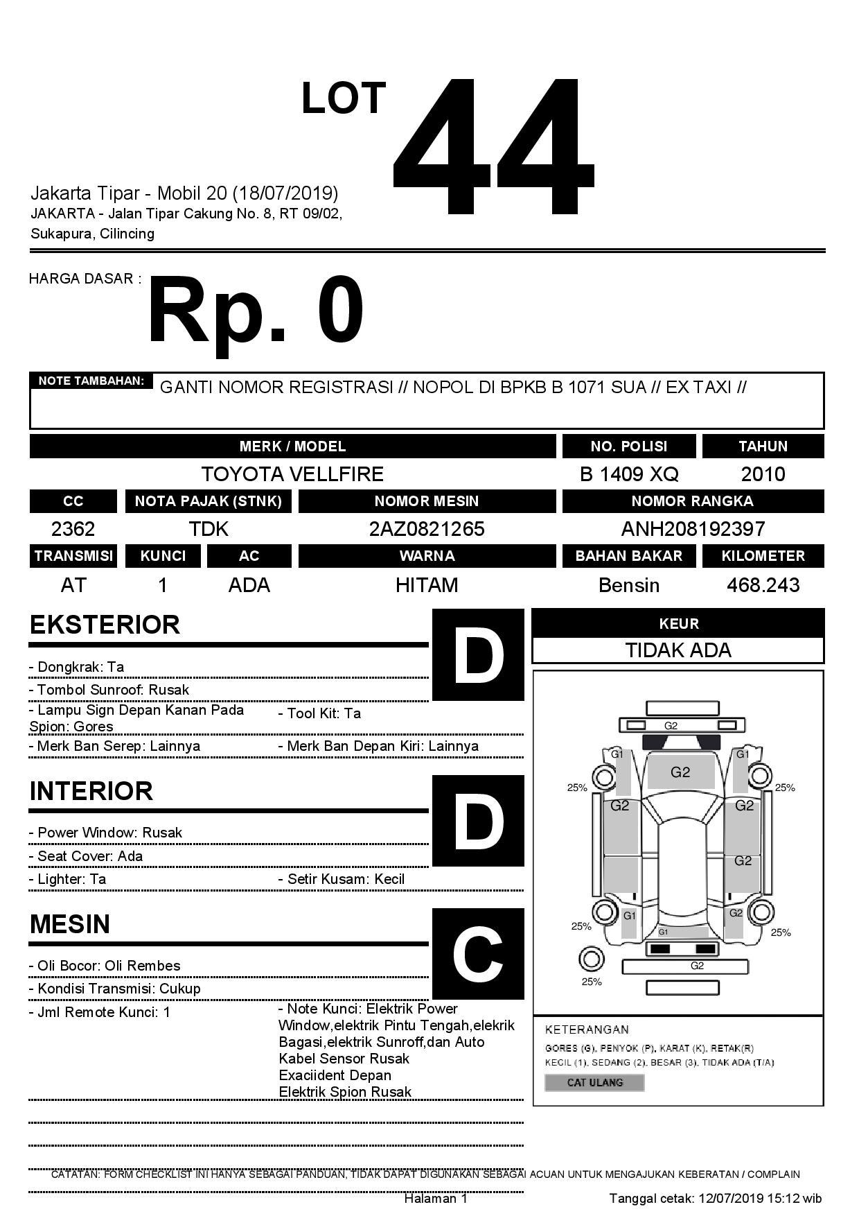 TOYOTA VELLFIRE | Car Auction | PT JBA Indonesia