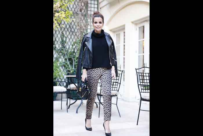 Wear Moto Jacket with A Fitted Leopard Pants