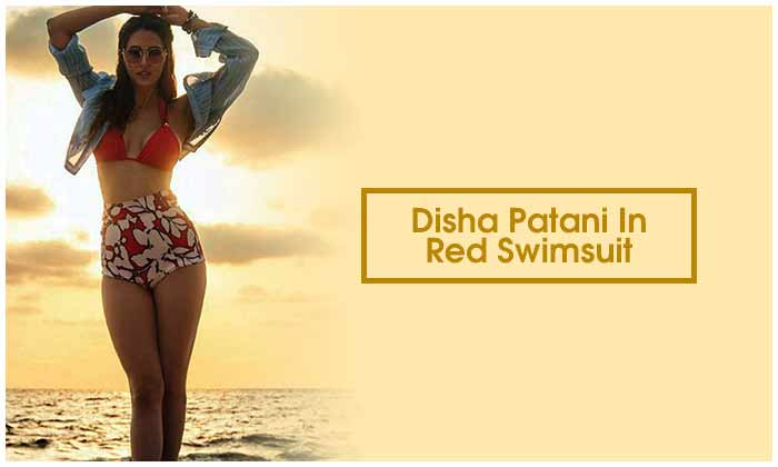 Disha Patani In Red Swimsuit