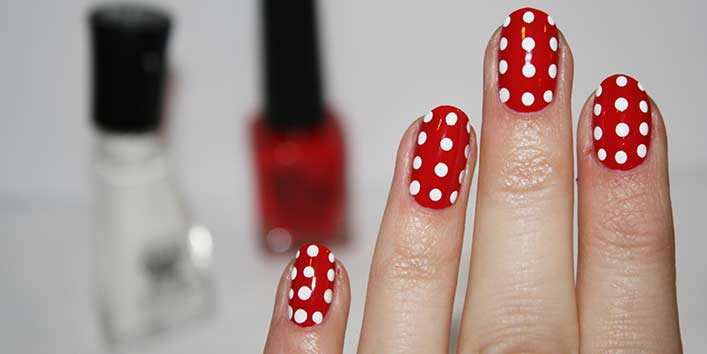 Red and White Polka Nail Art