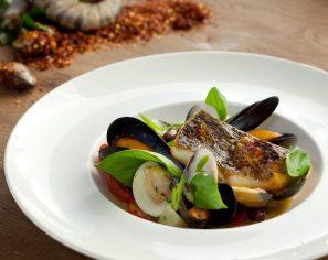 Pan-seared Sea bass, White Wine Sauce