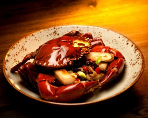 Sautéed Mud Crab and Rice Cakes with Pickled Chili