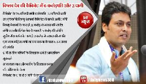 त्रिपुरा के 9 में से 6 मंत्री करोड़पति, 3 दागी, 2 के खिलाफ हत्या की कोशिश के केस