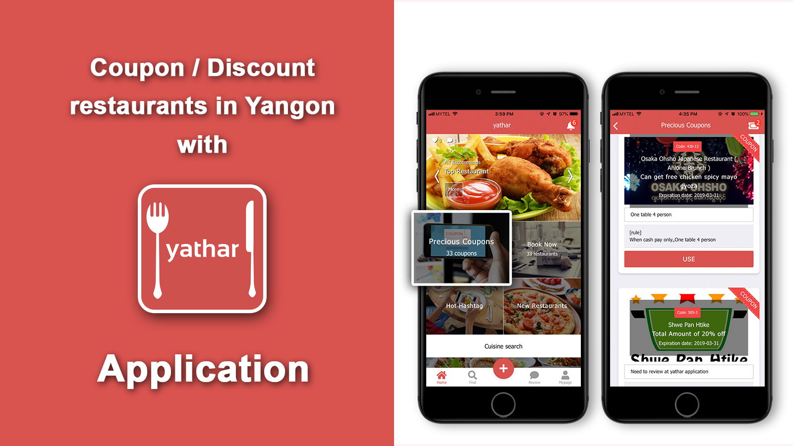 Feature coupons/discounts restaurants in Yangon with Yathar Application for March 2019