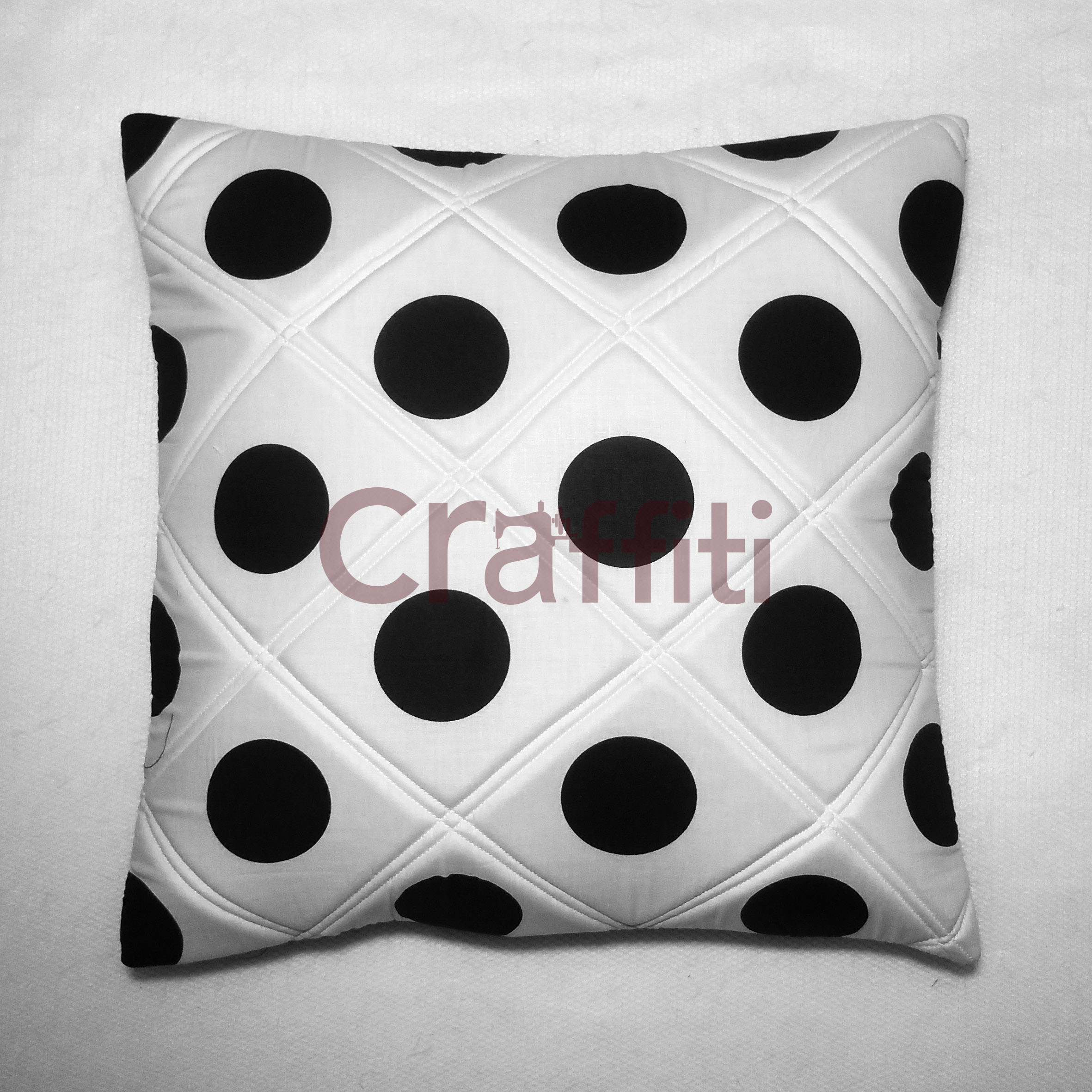 Black Polkadot Emboss - Cushion Cover